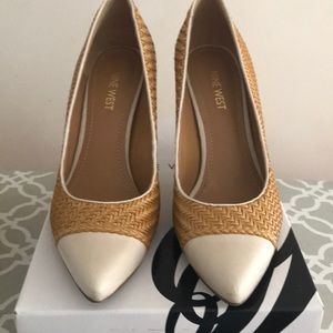 Straw and leather cap toe pumps by Nine West